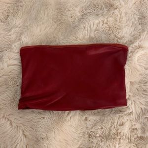 Red Faux Leather Topshop Tube Top